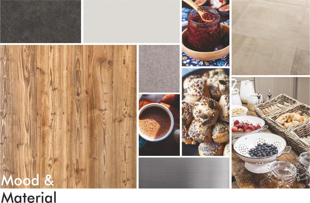 Projekt Frühstücksbuffet Moodboard und Material