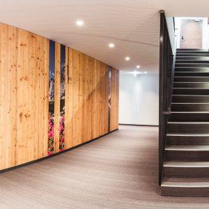 Aparthotel Ursprung - Stiegenhaus mit individueller Wandgestaltung